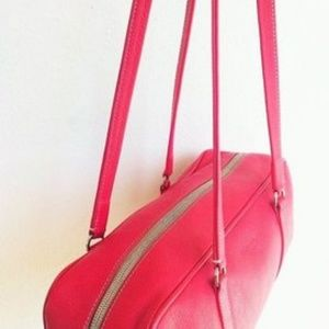 Prada Bags - Vintage Prada Red Textured Leather Boxy Satchel